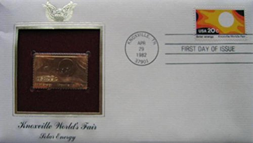 1982 Knoxville Worlds Fair Solar Energy Replica FDC 22kt Gold Golden Cover Stamp