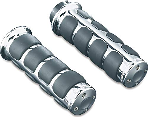 (Kuryakyn 6235 Premium ISO Handlebar Grips for Throttle and Clutch: Kawasaki, Suzuki, Victory & Yamaha Motorcycles, Chrome, 1)