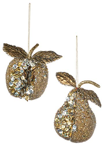 (Sullivans Glitter and Crystal Crusted Apple and Pear Christmas Ornaments, Set of 12 in 2 Styles, 3.5