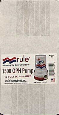 Rule 02 Marine Bilge Pump, 1500 GPH, Non-Automatic, 12 Volt