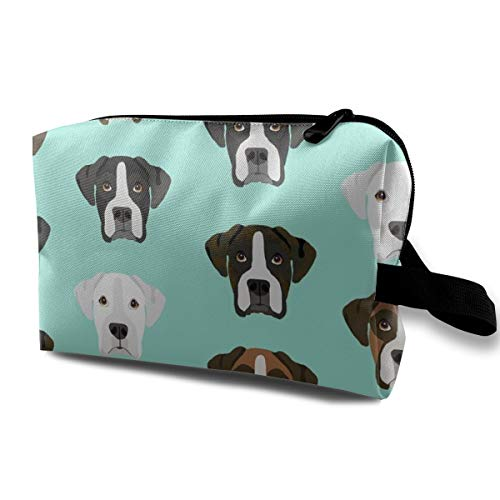 Boxer Dog Fabric Boxer Dogs Fabric Boxer Heads Design - Aqua_792 Travel Cosmetic Bag Cosmetic Make Up Organizer Dark Blue