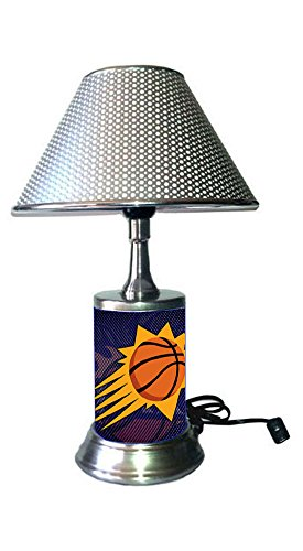 (Suns Table Lamp with Chrome Colored Shade, Your Favorite Team Plate Rolled in on The lamp Base, Phoenix S)