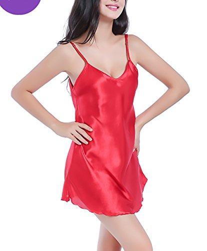 Estivo Vestito Unique Classiche Da Corto Spaghetti Semplice Pigiama Camicia Notte Classic Scollo Di Donna Notte Rosso Camicie Eleganti Da V Moda Cinghia ZC6wpPCvxq