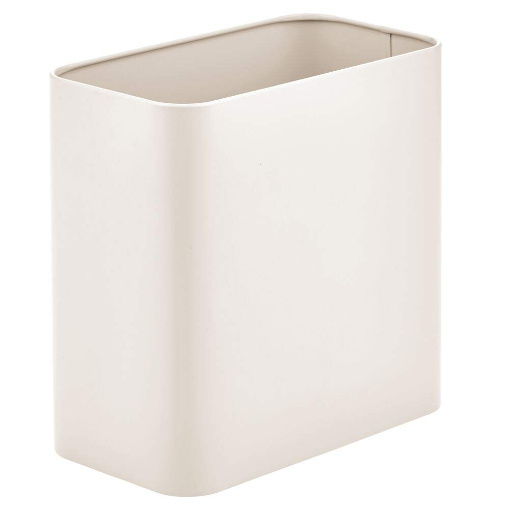 mDesign Rectangular Metal Small Trash Can Wastebasket, Garbage Container Bin - for Bathrooms, Powder Rooms, Kitchens, Home Offices - Cream