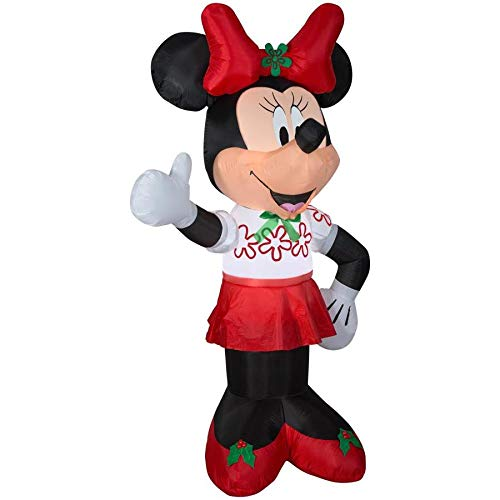 Gemmy Inflatable Minnie Mouse 6Ft. Tall with Red Bow Outdoor Holiday Decoration
