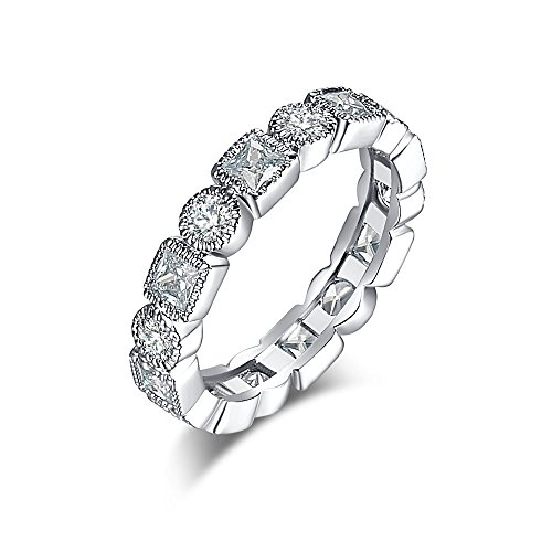 Veunora Gold Plated White Topaz Ring Eternity Love Band for (Amber White Ring)