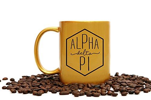 Alpha Delta Pi Mug | 11 Ounce Gold Sorority Coffee Cup