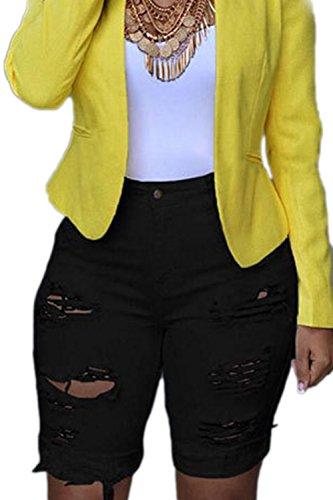 Casual Black A Con Taglie Pantaloncini Strappati Da Alta Di Donna Vita Zojuyozio Denim Jeans In Forti zSZqwBq