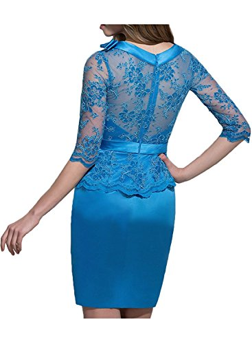 Abendkleider La Kurz Brautmutterkleider Traube Spitze Blau Partykleider Langarm Marie Braut Etuikleider zAqYAwRU
