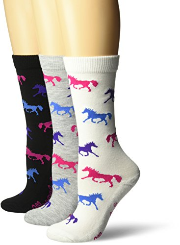 Wrangler Women's Ladies Horse Crew Socks 3 Pair Pack, White/Black/Grey, Medium - Ladies Horse
