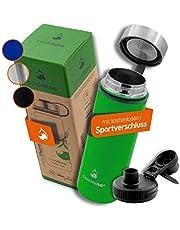 coolrhino roestvrijstalen Drinkfles 500ml / 1l voor wandelen en trekking + 2 Drinkdoppen - BPA-Vrij, Lekvrij, geschikt voor Koolzuurhoudende Dranken - Vacuüm Waterfles Thermosfles Thermos Isoleerfles Sport Water Fles Kinderen Thee