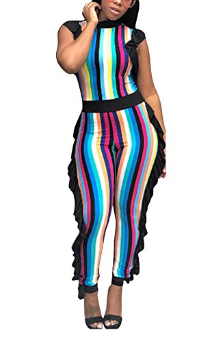 - Remelon Womens Sleeveless Stripe High Neck Ruffle High Waist Bodyocn Jumpsuits Long Romper Pants Multicolor S