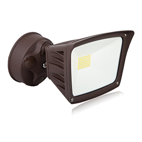 - Maxxima Outdoor LED Security Flood Light, 3300 Lumens, 28 Watts, 5000K Daylight, Brown Wall Light