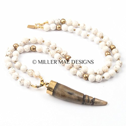 - Carved Wooden Horn Pendant Necklace with White Magnesite and Ethiopian Brass Beads - 32 Inches Handmade Necklace by Miller Mae Designs