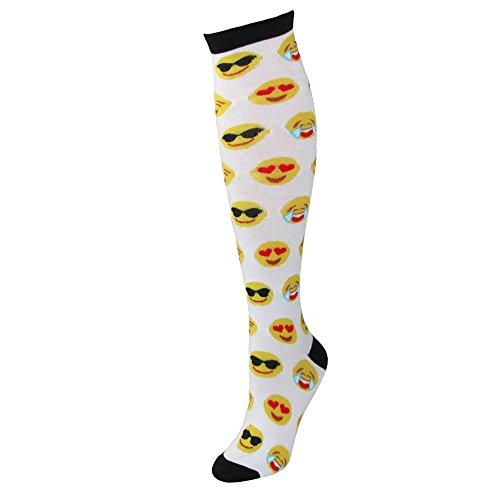 CTM Women's Emoji Print Novelty Knee High Socks, White