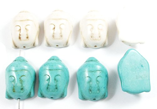 (Blue & White Buddha Head Stone Beads Candy Turquoise Focal Mix 29mm (8 Pieces))