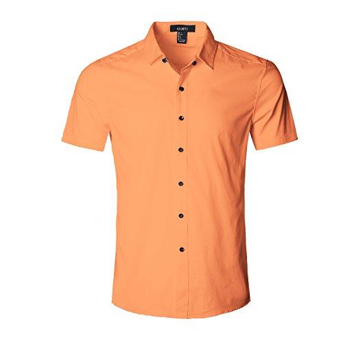 GILBETI Men's Slim Fit Solid Dress Shirts Button Down Cotton Short Sleeve Shirt Orange (Madras Plain Front Short)