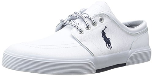 Polo Ralph Lauren Men's Faxon Low Sport Leather Fashion Sneaker, White, 9 D US