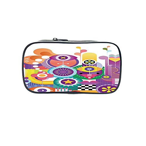 Customizable Pen Bag,Abstract Home Decor,Pattern with Circles and Dots Bubble Rings Spotted Springtime Enjoyment Decorative,for Kids,3D Print Design.8.7