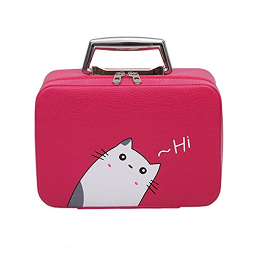 DDLBiz Women Girls Cat Cute Portable Travel Suitcase Makeup Bag Makeup Mini Makeup Train Case Zipper Storage (C) by DDLBiz