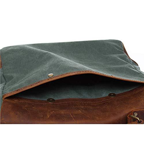Bolsa Casual De Lona Para Vintage Bolso Verde Hecho Cuero 14