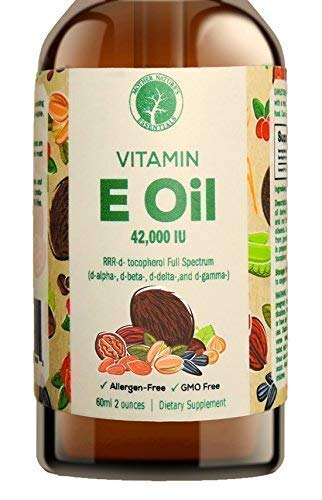 100% Natural Vitamin E Oil by Mother Natures Essentials 42,000 IU Food Grade This E Oil is Dark Amber in Color Sourced and Made in the USA The Best Vitamin E Oil on Amazon (2 oz)