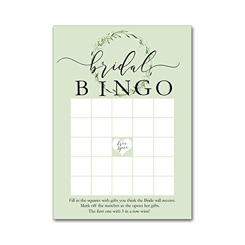 Bingo Game Cards for Bridal Wedding Showers with Watercolor Olive Leaf Wreath BBG8001 by Heads Up Girls