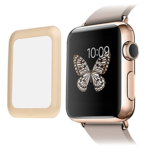 [Edge to Edge] SUPTMAX Screen Protector for Apple Watch Series 1 38mm FULL Coverage [Anti-Scratch] Apple Watch Cover Tempered Glass Screen Protector (38mm-Gold) by SUPTMAX