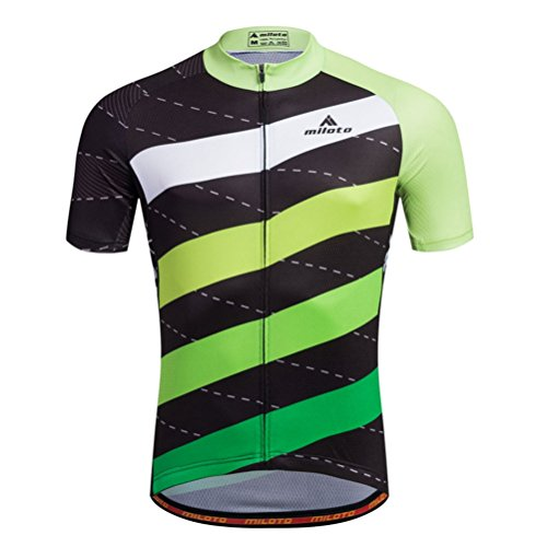 Uriah Men's Cycling Jersey Short Sleeve Reflective Stripes Green Size L(CN) ()