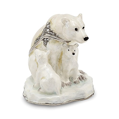 Bear Box Trinket - Saris and Things Bejeweled Polar Bear & Cubs Trinket Box with Charm Pendant