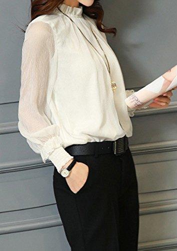 Beige Femmes Tee Hauts Mode pissure Tops et Shirts JackenLOVE Tulle Printemps Longues Automne Blouses Manches Casual Chemisiers BwI84aq