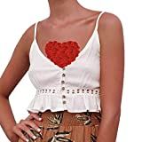 Women Crop Top V-Neck Sleeveless Buttons Lace Up Backless Ruffles Hem Camis Vest Blouse White