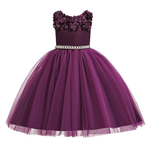 Rose Cottage Embroidery - Glamulice Vintage Flower Girl Dress 3D Floral Embroidery Pearl Belt Sash Tulle Swing Party Dresses Age 2-10Y (3-4 Years, Lavender)