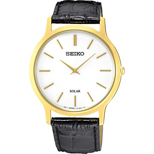 Seiko Men's Year-Round Stainless Steel Quartz Watch with Leather Strap, Black, 18 (Model: SUP872P1)