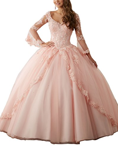 Quinceanera New Gown (Eldecey Women's V-Neck 2017 Lace Applique Sweet Sixteen Long Sleeves Pageant Backless Ball Gown Prom Quinceanera Dress Pink US16)