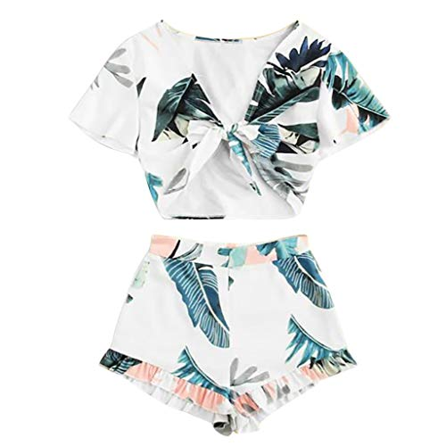 Women's Sexy 2 Pcs Outfits Sleeveless Deep V-Neck Crop Tops Strappy Tropical Palm Print Ruffle Suits Elastic Waist Wide Leg Shorts Summer Casual Wear ()