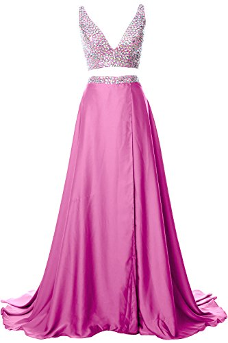 MACloth Women 2 Piece Long Prom Dress V Neck Chiffon Formal Party Evening Gown Rosa