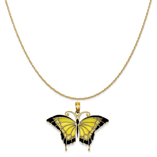 14k Yellow Gold Butterfly Chain (14k Yellow Gold Yellow Acrylic Wings Butterfly Pendant on 14K Yellow Gold Rope Chain Necklace, 20