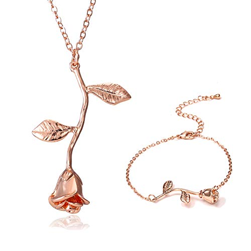 Vintage 3D Rose Necklace Flower Pendant Necklace Chain 18K Gold Lovers Birthday Friendship Jewelry Handmade Jewelry Necklace & Bracelet(Rose Gold)