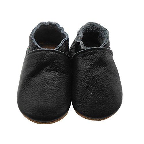 Sayoyo Baby Soft Sole Shoes Genuine Leather First Walker Infant Toddler Moccasins(12-18 Months, Black) by Sayoyo (Image #1)