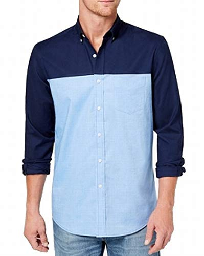 Club Room Mens Large Button Down Colorblock Shirt Blue L from Club Room