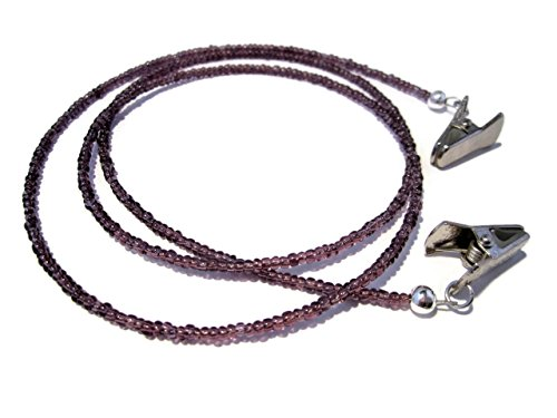 ATLanyards Pretty Plum Purple Eyeglass Necklace with Silver Clips - Beaded Clip Eyeglass Chain in - Pretty Eyeglasses