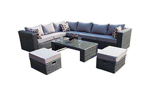 Yakoe Papaver 8 Seater Modular Conservatory Rattan Corner Garden Sofa Furniture Set with Rain Cover - Grey