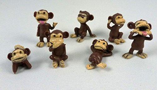 100 Monkey Figures Tiny Plastic Monkey Figures Bulk Bag 100 Party Favors by A&A