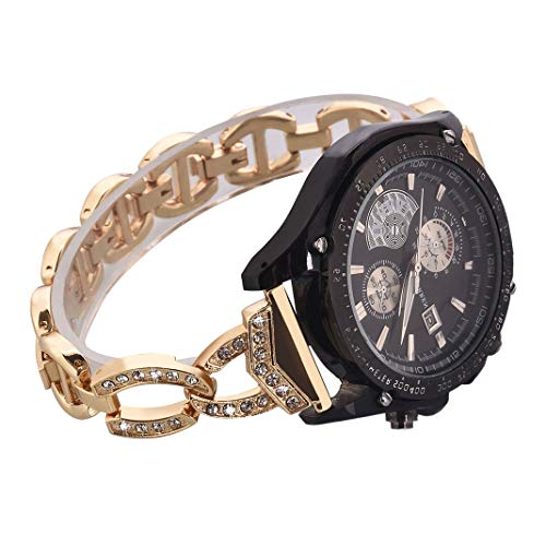 Watch Straps compatible Samsung Galaxy 46mm,S3 Frontier/Classic Women Glitter Stainless Steel Band,22mm Gold Metal Bracelet with Folding clasps Replacement Wristband for Samsung S3/SM R760