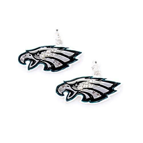 NFL Football Philadelphia Eagles Crystal Logo Earrings in Black, Silver and Blue