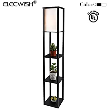Elecwish Shelf Floor Lamp With Linen Shade, UL Listed, Wooden Frame, 63  Inch Height, Switch On/off, Etagere Organizer Shelf, Black