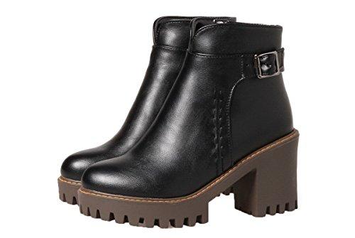 PU Couleur AgeeMi Zip Bottes Rond Tacco Shoes Cuir Alto Unie Femme 7EffX6q
