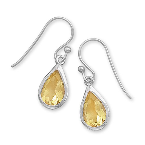 Yellow Citrine Faceted Pear-shaped Teardrop Sterling Silver Earrings