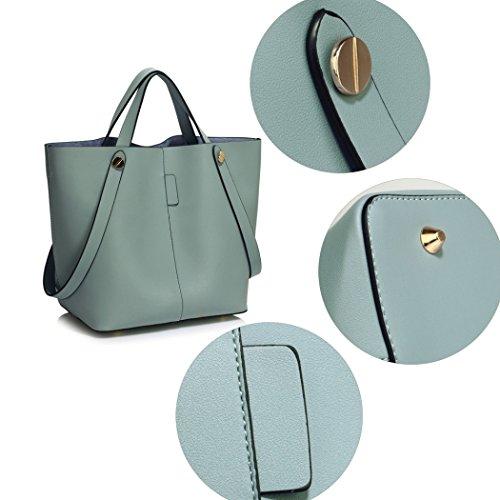 LeahWard Frauen Faux Leder Umhängetasche Tragetaschen Handtaschen für Frauen Schulferien CW190 (Blau Hobo Tasche mit Faux Pelz Charm) Blau Grab Handtasche
